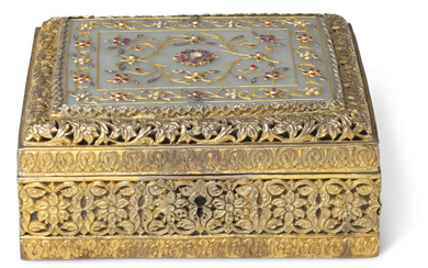 A SILVER-GILT BOX WITH GEM-SET JADE PLAQUE, INDIA, 19TH CENTURY
