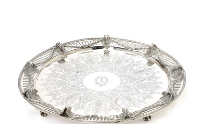 A Victorian sterling silver salver. Maker Daniel & Charles Houle, London 1869. Diam. 34.5 cm....