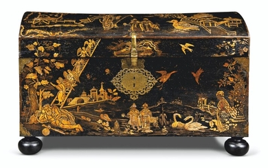 A WILLIAM & MARY BLACK AND GILT-JPANNED DOME-TOPPED COFFER, LATE 17TH CENTURY