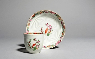 A Worcester coffee cup and a saucer c.1765,...