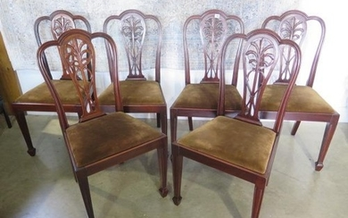 A circa 1900s set of six mahogany dining chairs with drop in...