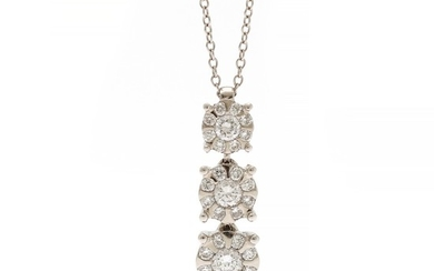 A diamond necklace with a pendant set with numerous brilliant-cut diamonds totalling app. 0.54 ct., mounted in 18k white gold.