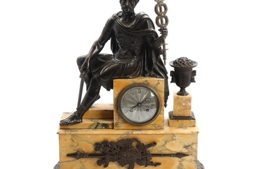 A first part of the 19th century Siena marble and patinated bronze mantel clock. H. 58 cm.