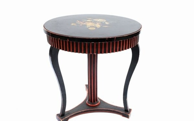 A laquered wood and scagliola small circular table