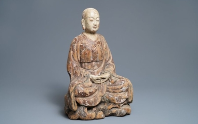 A large Chinese painted wood figure of a...