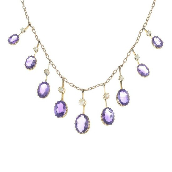 A late 19th century gold amethyst and seed pearl