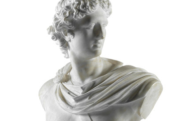 A late 19th/early 20th century Italian carved white marble bust of the Apollo Belvedere