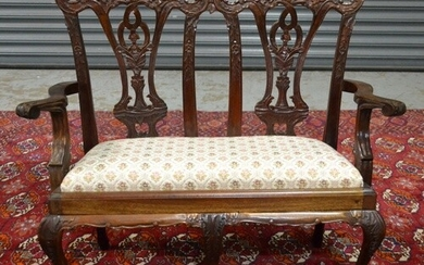 A late 20th Century mahogany reproduction miniature two seat...