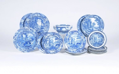 A miscellaneous selection of Spode and other manufacturers blue and white printed pearlware with classical subjects