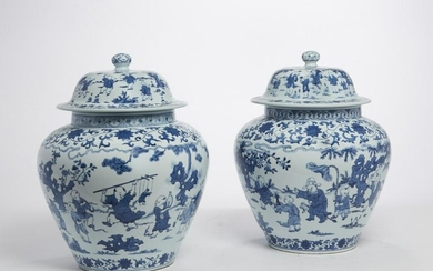 A pair of Chinese blue and white porcelain jars