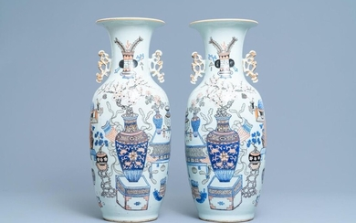 A pair of Chinese doucai 'antiquities' vases, 19/20th C.