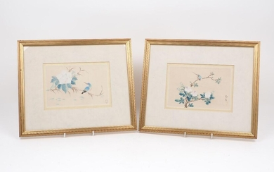 A pair of Chinese paintings, of rectangular form, each designed...
