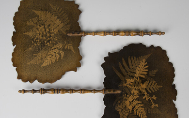 A pair of Victorian fernware face screens, each fitted with a turned handle, length 38cm, width 24cm