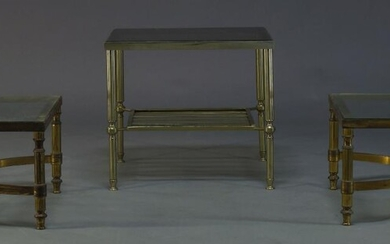 A pair of brass side tables, c.1960, the square glass...