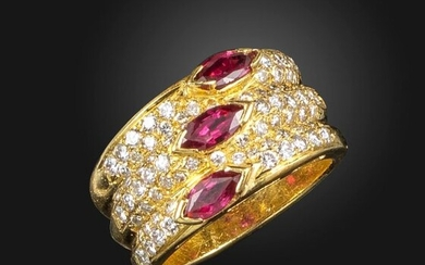 A ruby and diamond three-row ring, each row centred with a marquise-shaped ruby and pave-set to the shoulders with graduated round brilliant-cut diamonds in gold, French import mark, size M