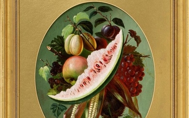 """AMERICAN SCHOOL, 19th Century, Still life of watermelon and other fruit., Oil on canvas, 19"""" x 15"""" sight. Framed 28"""" x 24""""."""