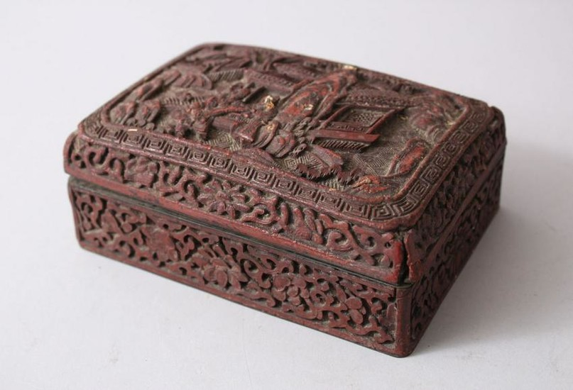 AN EARLY 20TH CENTURY CHINESE CINNABAR LACQUER LIDDED