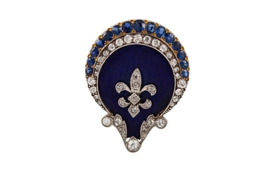 AN ENAMEL, SAPPHIRE AND DIAMOND BROOCH, mounted in 14ct gold...
