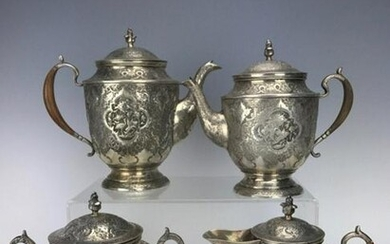 ANTIQUE PERSIAN SILVER TEA SET CIRCA 1950