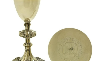 American Sterling Silver Gilt Chalice and Paten