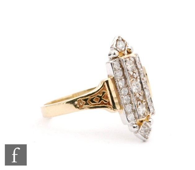An 18ct diamond cluster ring comprising three rows of vertic...