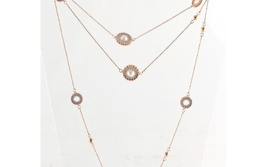 An 18ct rose gold diamond & pearl necklace, with beaded circ...