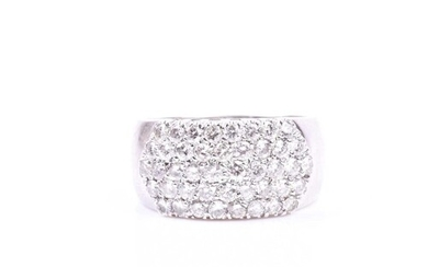 An 18ct white gold and diamond band ring, pave-set with roun...