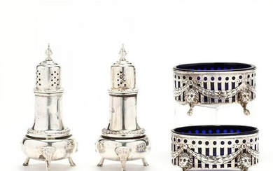 An Assembled Sterling Silver Salt & Pepper Set