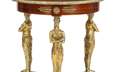 An Empire style mahogany occasional table with bronze mountings. 20th century. H. 76 cm. Diam. 81 cm.
