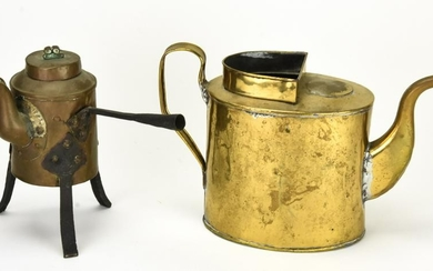 Antique Brass and Copper Hand Wrought Coffee Pots