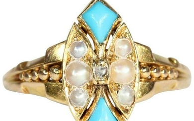Antique Victorian Pearl, Turquoise, and Diamond Ring