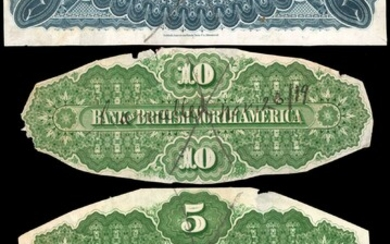 CANADA. Bank of British North America. 4 to 10 Dollars, ND. P-S411, S412, S413 & S426. Back Proofs. About Uncirculated.