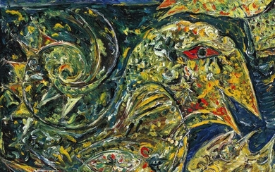 """Carl-Henning Pedersen: """"Golden Bird"""", Dolomiti, 1975. Signed, titled and dated on the reverse. Oil on canvas. 106×125 cm."""