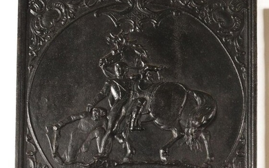 Cast iron fireback representing Napoleon rescued by the...