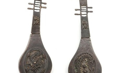 Chinese Bronze & Jadeite Figural Pipa Locks , 2