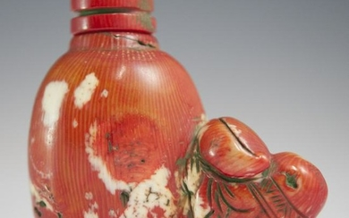 Chinese Figural Coral Snuff Bottle