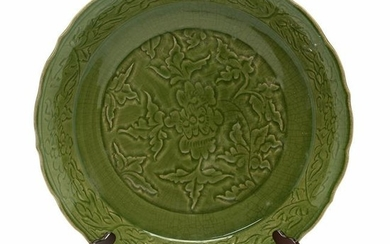 Chinese Large Longquan Celadon Moulded Peony Charger.