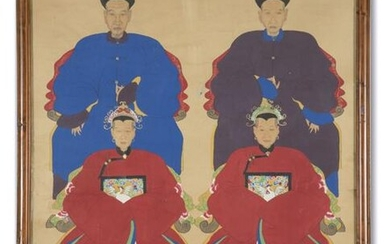 Chinese painting dignitaries on paper
