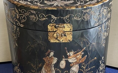 Chinoiserie Lacquer Decorated Letter Box, RM2A