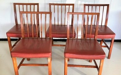 Danish furniture design: A set of five mahogany side chairs. Seat upholstered with patinated leather. H. 84 cm. (5)
