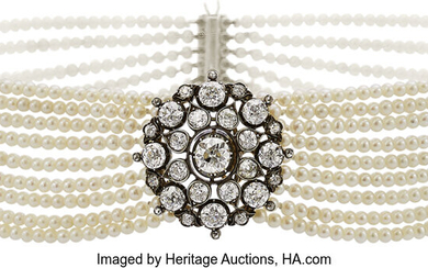 Diamond, Cultured Pearl, Gold, Silver Necklace The choker is...