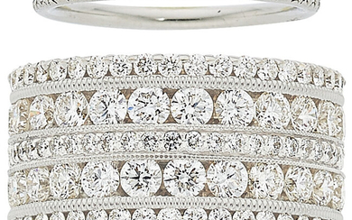 Diamond, Platinum, White Gold Eternity Bands The lot includes...