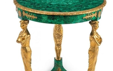 EMPIRE STYLE DORE BRONZE AND MALACHITE TABLE