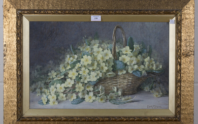 Edith M. Harms - Still Life of a Basket of Primroses, watercolour, early 20th century watercolour, s