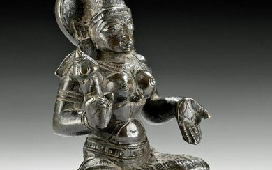 Fine Early 19th C. Indian Brass Seated Lakshmi
