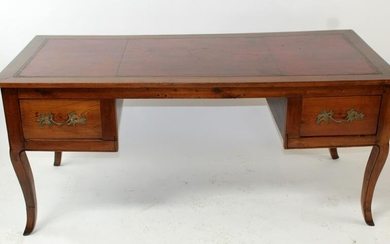 French Provincial desk in fruitwood with leather top