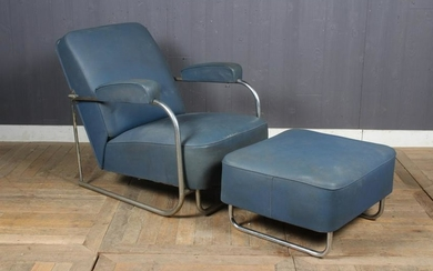 French Tubular Steel Recliner and Ottoman