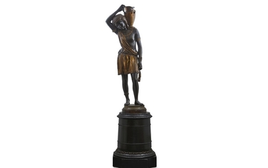 GRAUX-MARLY: A FINE THIRD QUARTER 19TH CENTURY FRENCH GILT AND PATINATED BRONZE FIGURE OF A NUBIAN W
