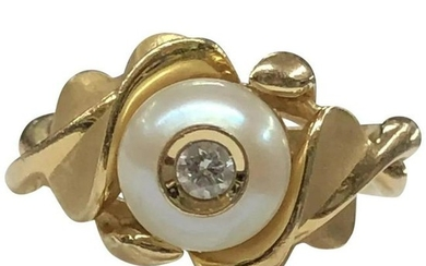 Galatea Diamond in a Pearl 14 Karat Yellow Gold Leaf
