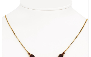 Garnet-Akoya pearl necklace GG 333/000 with drop-shaped pearl...